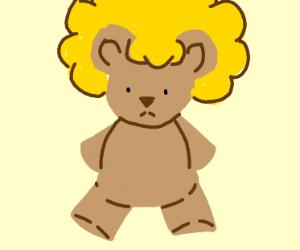 Teddy bear rocks a blonde fro