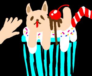 Hand pets the good boy milkshake