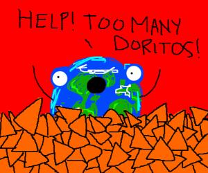 Earth drowning in doritos
