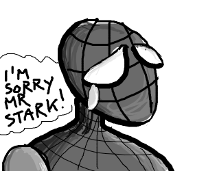 sad peter parker saying im sory mr stark