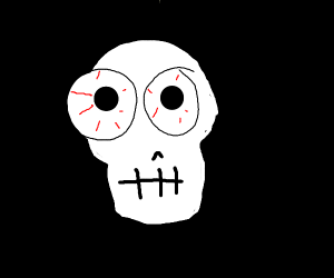 skull with his eye popping out