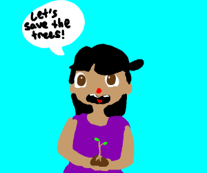 Girl with sapling asks for trees to be saved