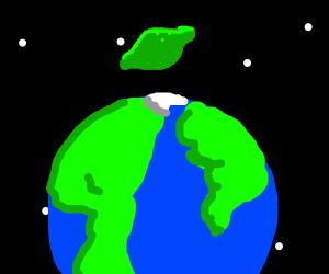 Green lemon in space
