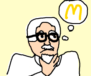 Colonel sanders thinking of mcdonald's dragon