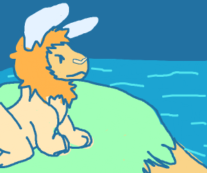 Bunny-lion over cliff