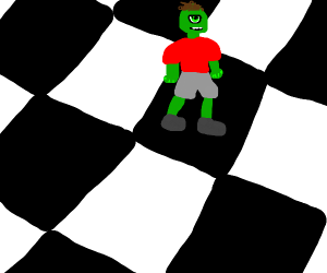 Green-skinned Cyclops on giant chessboard