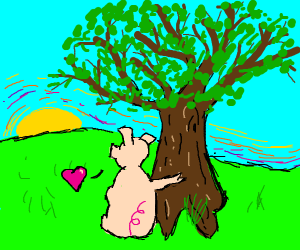 pig in love with tree