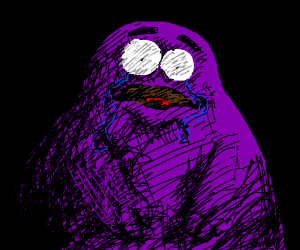 Grimace from Mcdonalds sad