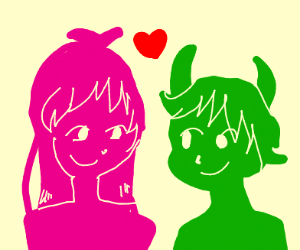 girl and green alien in love