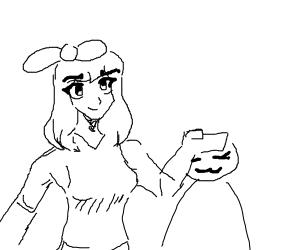 Typical manga girl petting a fan