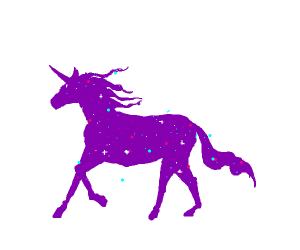 Magic purple/pink unicorn reading a book