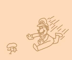 mario chases brown mushroom