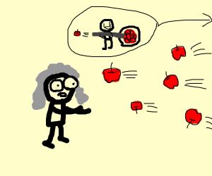Isaac Newton having apples shot at him