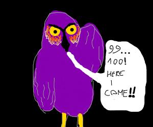 """Long purple owl is """"it"""" in hide and seek"""