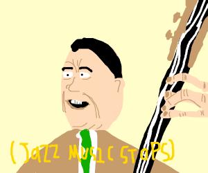 [jazz music stops]