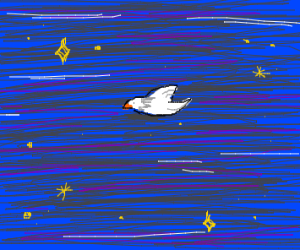 A bird flying in space