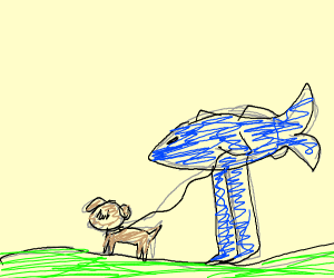 Fish with legs walks his dog