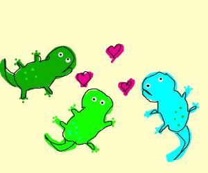 3 geckos love each other!