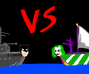 batman vs joker as boats