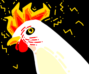 A chicken with fire on its head