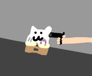 Bongo cat is held at gunpoint