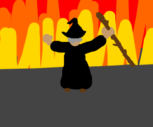 angry wizard with black cloak and a staff