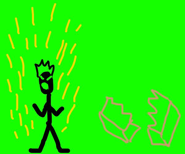 stick man uses anime powers to kill box