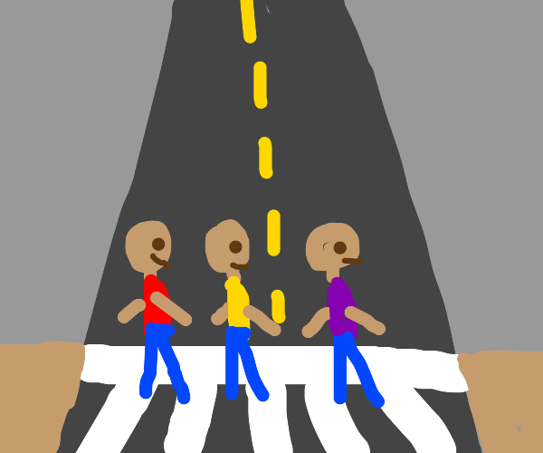 bald kids crossing the street