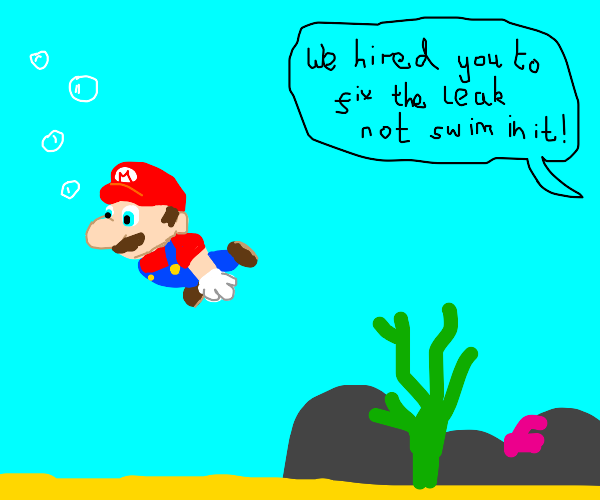 What is a plumber (Mario) doing underwater?