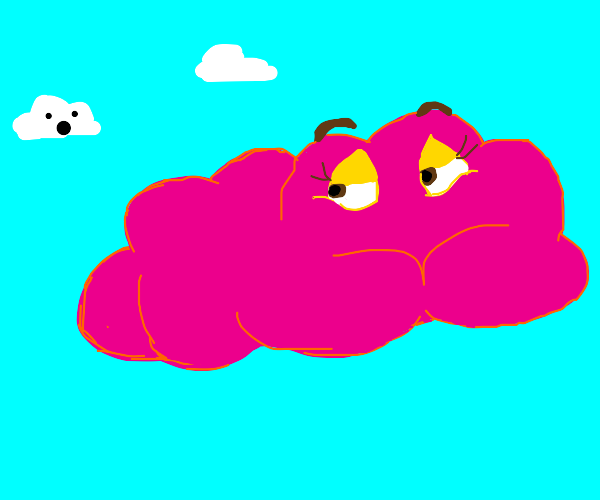 Pink cloud with stay eyes