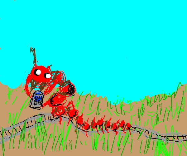 centipede-railway-train dralking in grassland