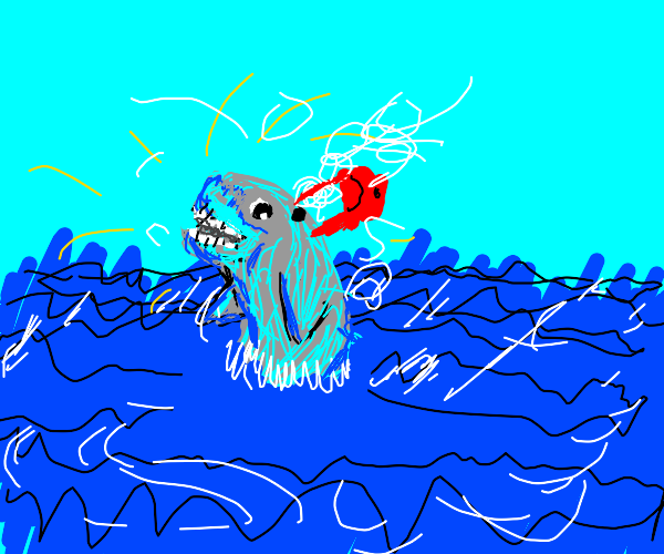 spazzy blue whale with bag on waterhole