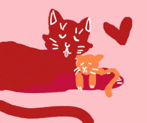 mama cat loves her baby cat uwu