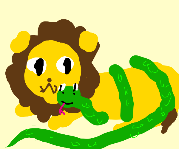 lion with snake