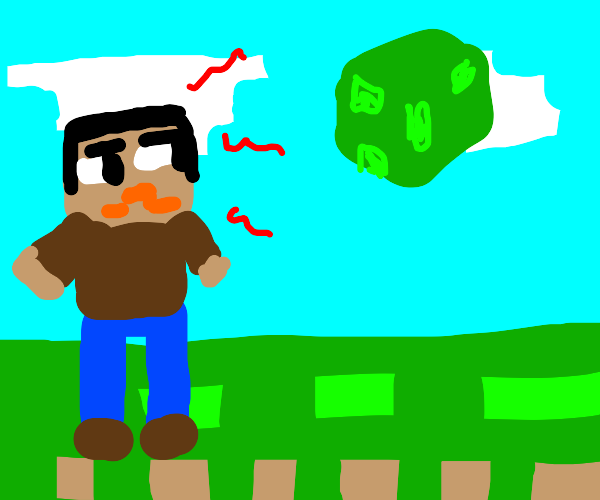 Minecraft character hates floating blocks.