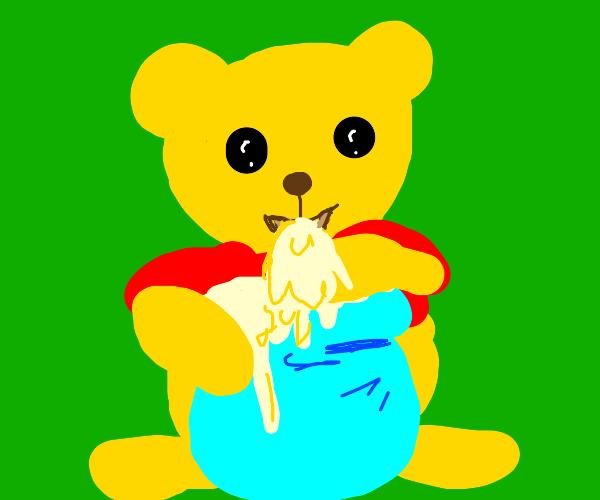 happy bear with honey