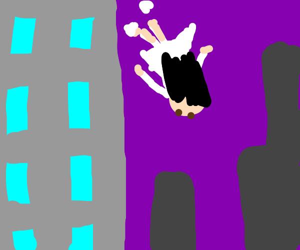 Girl falls off building