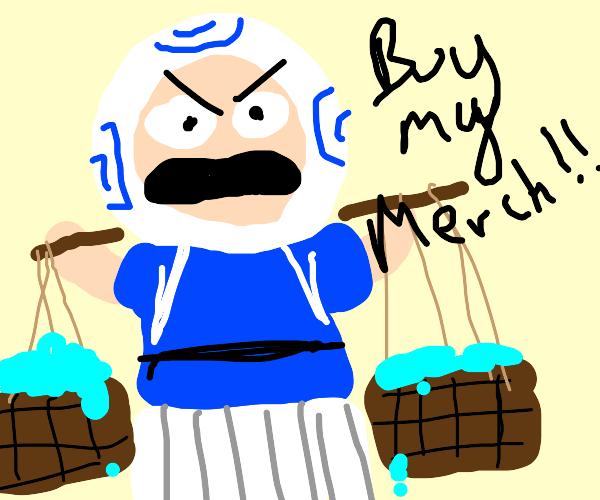 Merchant selling blue stuff
