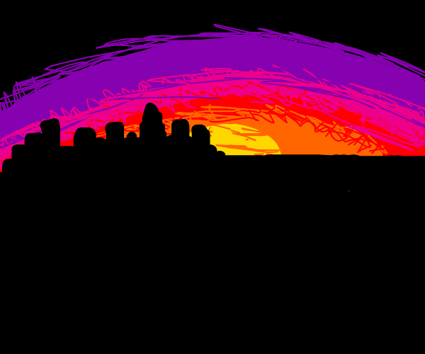 sunset on the city