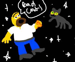 Homer scouling at a space cat