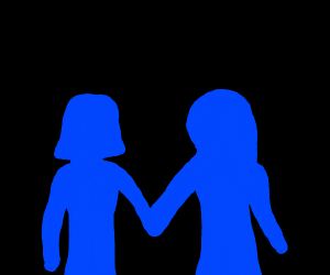 blue girl holding hands with someone else