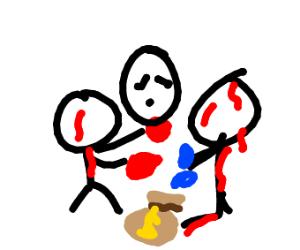 men fighting over money bag