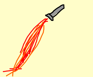 Rocket spewing out red hot fire