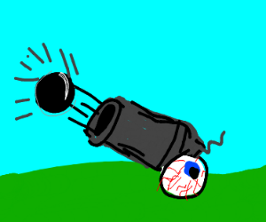 cannon with eyeball for a wheel