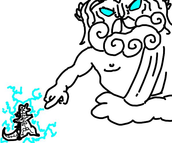 Zeus smites godzilla