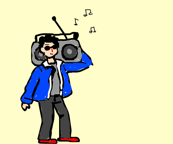 Guy jamming with a boom box