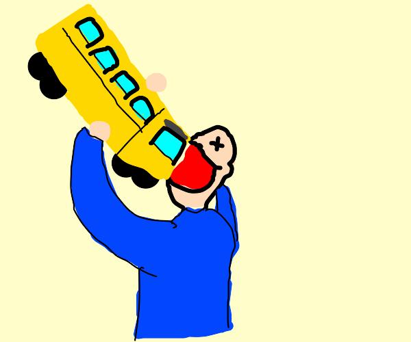 crazed person devours a schoolbus and DIES