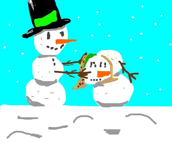 Snowman building a snow woman