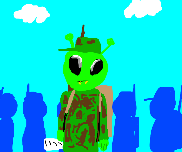 Alien being drafted in the army