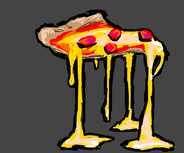 Bu piece of pizza with too much melted cheese